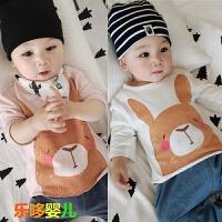 春秋婴儿上衣T恤新生儿小宝宝长袖卡通春装韩版0-1岁宝宝套头衫潮