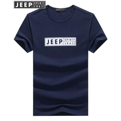 JEEP吉普短袖t恤男士夏季薄款纯色T恤男装户外休闲圆领纯棉半袖打底汗衫吉普户外T恤,好汉子的选择