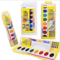 晨光可洗半干水彩颜料 8色/12色/16色/24色固体颜料 儿童学生美术水彩半干颜料绘画用品