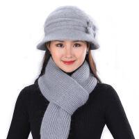 加绒保暖老人奶奶帽子 中老年人妈妈毛线帽 新款兔毛帽子女柔软围巾