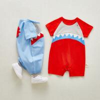 婴儿衣服短袖开档连体哈衣满月夏季男女宝宝爬服