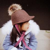 儿童毛球帽子潮宝宝鸭舌帽潮中童男童女童马术礼帽棒球帽