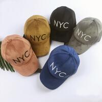 儿童帽子NYC字母棒球帽丽丝绒鸭舌帽秋冬款儿童棒球帽潮帽防寒