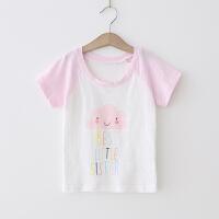 女童T恤 2018夏季新款插肩短袖圆领上衣卡通多色T恤衫打底衫