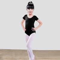 儿童舞蹈服装女练功服演出服短长袖芭蕾舞裙棉健美操连体紧身衣 黑色 6020裤装短袖