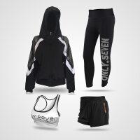 瑜伽服女长袖晨跑上衣运动长短裤显瘦速干运动套装女四件套