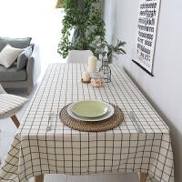 现代简约白格子桌布布艺棉麻小清新文艺西餐桌布正方形酒店可定制
