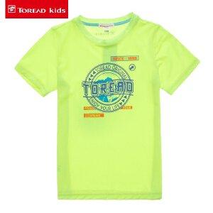 探路者童装 儿童T恤2017夏季新款男童圆领短袖T恤中大童男孩半袖