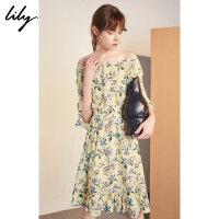 【25折到手价:174.75元】 Lily春新款女装黄色碎花一字领荷叶边收腰连衣裙118310C7671
