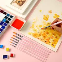 水彩画笔7支套装尼龙毛初学者圆尖头手绘学生用水粉颜料细勾线笔