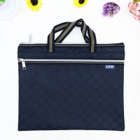 贝多美0618-5方格文件袋 A4双拉链手提文件袋 公文袋 会议袋 内层防水设计