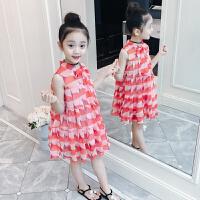 女童裙子儿童夏装洋气公主裙儿童连衣裙小女孩雪纺格子裙