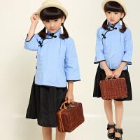 2017夏季女童旗袍式套装童装小女孩中国风唐装小孩复古学生装套装