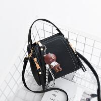 斜挎包女迷你小包包新款韩版手提包时尚单肩包女包学生水桶包 黑色