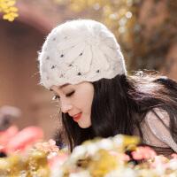 帽子女秋冬时尚韩版潮贝雷帽百搭冬季女士镂空蕾丝包头针织毛线帽