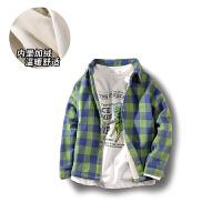 男童衬衫长袖薄童装儿童格子衬衣中大童开衫外套