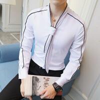 春夏潮流夜店个性领带男士修身衬衣韩版时尚长袖夜店发型师衬衫