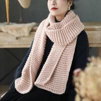 长款纯色系柔软波浪纹甜美韩版可爱保暖针织围脖毛线围巾女
