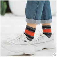 袜子女秋冬双杠双针粗线原宿风棉袜子秋季短筒运动风民族风中筒袜