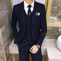 英伦型男绅士免烫西服套装男士修身西装马甲西裤两件套婚庆新郎服