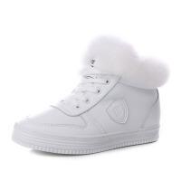 冬季加绒保暖短靴女 纯色百搭女棉鞋 内增高防滑系带加厚板鞋