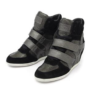 ASH艾熙 意大利品牌BEA真皮高帮鞋休闲压纹内增高皮扣女鞋坡跟93844