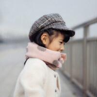 儿童帽子潮英伦格子画家帽男童女童贝雷帽宝宝复古毛呢八角帽