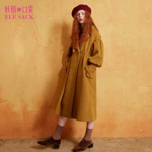 妖精的口袋会飞的少女冬装新款灯笼袖长款毛呢大衣外套女