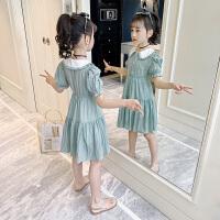 女童连衣裙夏装洋气童装女孩学院风短袖公主裙子