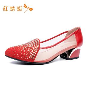 红蜻蜓女鞋新款靓丽时装单鞋网布透气鞋