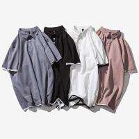 港�LPOLO衫男2018夏�b有�I短袖T恤男 翻�I小清新青年潮�w恤