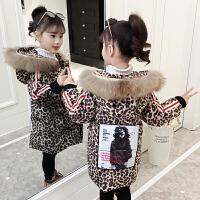 中长款时尚豹纹冬装棉袄女童韩版女孩中大童洋气