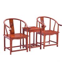 官帽椅太师椅小茶几三件套茶桌椅主人椅新中式全实木家具