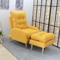 北欧懒人沙发单人休闲躺椅简易折叠布艺沙发卧室阳台小沙发床 黄色 单人沙发+脚踏 单人
