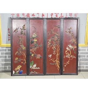C932民国《花鸟四条屏》(红酸枝边框,玉石镶嵌而制,底板刷红色大漆,包浆厚重,保存完整。属实用收藏型。)