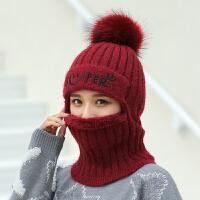 时尚帽子女冬季针织护耳毛线帽保暖加绒加厚防风骑车围脖连体套头帽