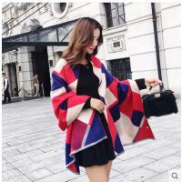 韩版新款时尚撞色条纹仿羊绒围巾女士加大保暖披肩两用围脖