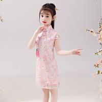 女童旗袍中国风夏季薄款古风演出服小女孩宝宝儿童唐装连衣裙