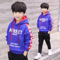 中大童加厚连帽衫男孩上衣韩版儿童装男童秋冬装加绒卫衣