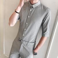 气质夏季千鸟格子中袖衬衫男士修身短袖衬衣九分背带裤两件套装潮