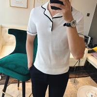 2018夏季男士修身经典黑白灰包边翻领针织衫短袖打底衫短袖T恤短T