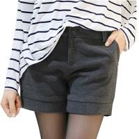 秋冬新款 中腰女士冬季显瘦大码加厚毛呢短裤 靴裤短裤