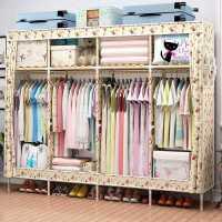 【满减优惠】牛津布衣柜实木简易衣柜组装衣橱大容量单双人收纳柜子衣服储物柜