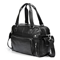 真皮男包商务旅行包男士手提包横款头层牛皮包男士单肩包包大容量