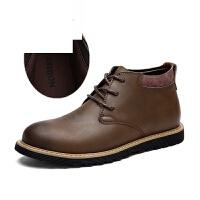 潮牌马丁靴男英伦疯马皮短靴冬季加绒工装靴高帮棉鞋防水大头皮靴