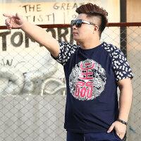 夏天潮流肥胖男装短袖T恤宽松加肥加大码中国风印花半袖男士体恤