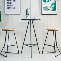 现代简约铁艺小吧台圆形高脚酒吧桌家用休闲户外阳台茶几桌椅组合