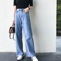 牛仔裤 女士高腰做旧毛边阔腿裤2020秋季新款韩版时尚女式洋气休闲裤女装直筒裤