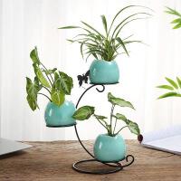 摆件现代简约绿萝铜钱草水培植物花瓶陶瓷家居客厅装饰品摆件新品花插