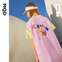 【179元任选3件】MQD女大童连衣裙2021新款夏装儿童韩版运动撞色高端夏天拼块T恤裙